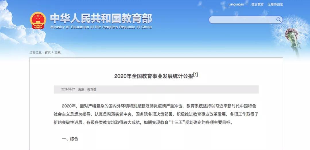 【人民教育】公布2020年全国教育事业发展统计公报